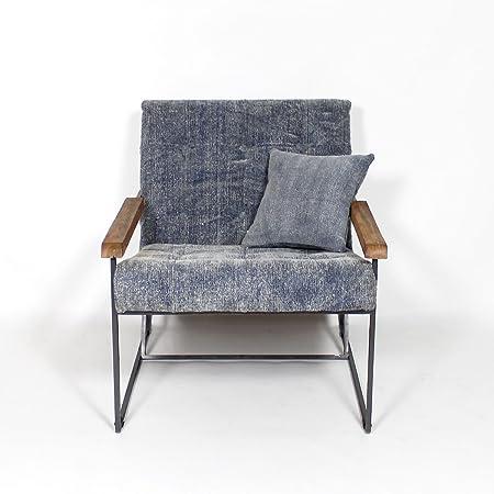 Fauteuil industriel style lounge en tissu bleu   B25