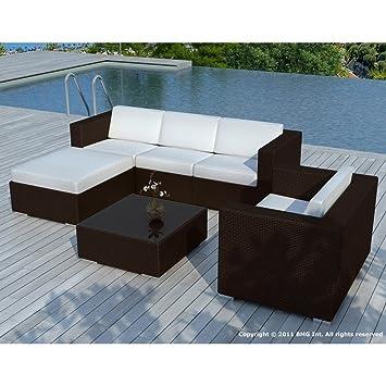 Salon de jardin design AMALYS chocolat et blanc Couleur ...