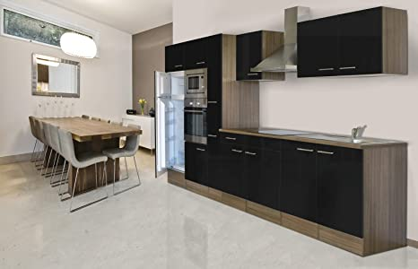 Respekta Kitchen Kitchen Kitchen/Empty Units/Empty York Oak 360cm black