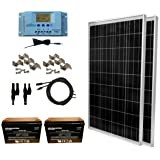WindyNation 200 Watt Solar Panel Kit: 2pcs 100W Solar Panels + P30L LCD PWM Charge Controller + Solar Cable + MC4 Connectors + Mounting Brackets + 12 Volt AGM Deep Cycle Battery for Off-Grid RV Boat (Tamaño: 200W Solar kit + 200ah AGM Battery)