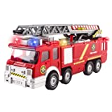 Fire Truck Toy Rescue with Shooting Water, Lights and Sirens Sounds, Extending Ladder and Water Pump Hose to Shoot Water, Bump and Go Action by Vokodo (Color: red)