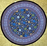 """TC10514 - India Arts Tablecloth ~ Several Sizes Available ~ 100% Cotton (Sunflower Purple/Black, 72"""" Round)"""