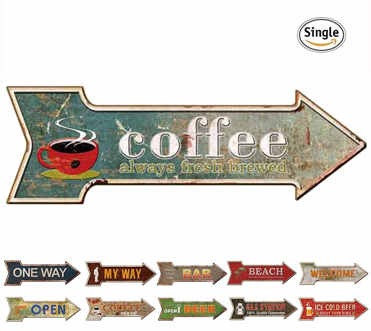 HANTAJANSS Coffee Signs with Always Fresh Brewed Arrow Tin Signs for Cafe Decoration