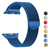 Seoaura Compatible Apple Watch Band 42mm 44mm, Stainless Steel Milanese Loop Replacement Strap with Magnetic Closure iWatch Series 4 3 2 1 Sports (Blue, 42mm/44mm) (Color: Blue, Tamaño: 42mm/44mm)