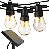 Brightech Ambience Pro - Waterproof LED Outdoor Solar String Lights - 1W Vintage Edison Bulbs - 48 Ft Heavy Duty Patio Lights Create Cafe Ambience On Your Porch - Soft White (Color: white, Tamaño: 48 Feet)