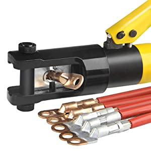 WBHome Hydraulic Wire Crimper Battery Lug Terminal Cable Crimping Tool, 8 Dies, 12 Ton