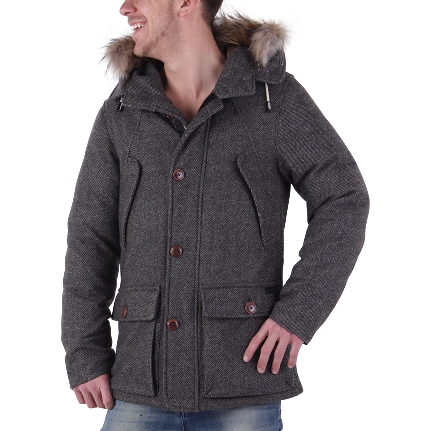MUSEUM Herren Winter Daunenjacke Tweed New Seattle Grey MU19535