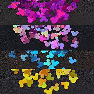 12 Colors Acrylic Nail Art Glitter Sequins Decals Set For Fake Nails Tips Decoration Beauty Manicure Tools Mouse