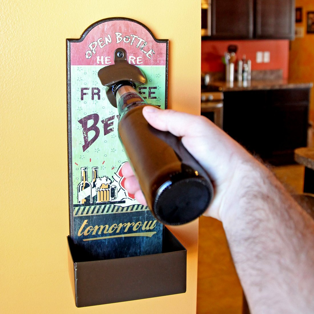 Lily's Home Vintage Humorous Beer Bottle Opener With Cap Catcher, Father's Day Gift 1