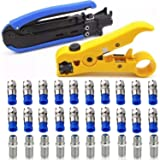 Coaxial Compression Tool Coax Cable Crimper Kit Adjustable RG6 RG59 RG11 75-5 75-7 Coaxial Cable Stripper with 20 PCS F Male And 10 PCS Female to Female RG6 Connectors (Color: RG6 RG11 Blue Crimper 1)