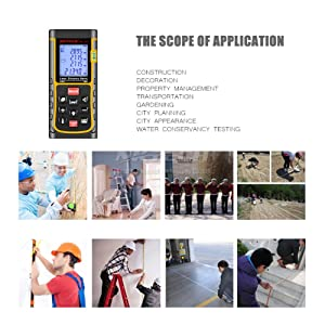 NKTECH Laser Distance Meter Laser Rangefinder 40m 60m 80m 100m 120m 150m Range Finder Tools m/in/ft Length Tape Area Volume Angle Measuring IP54 Air Bubble Level (NK-E80 262ft) (Color: NK-E80 262ft, Tamaño: Small)