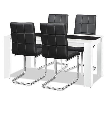 Esstisch + Stuhlset : 1 x Esstisch Jamaika + 4 Freischwinger Agionda PAUL schwarz mit Chromgestell