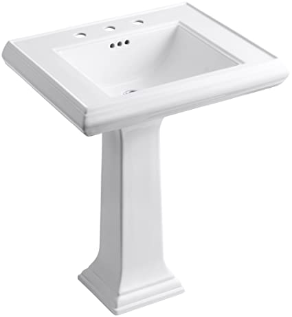 "KOHLER K-2258-8-0 Memoirs Pedestal Bathroom Sink with 8"" Centers and Classic Design, White"
