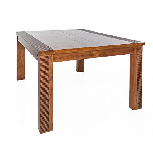 LUDSI LIVING 167696 Venice Table Carrée avec Allonge Bois/Acacia 190 x 130 x 76 cm