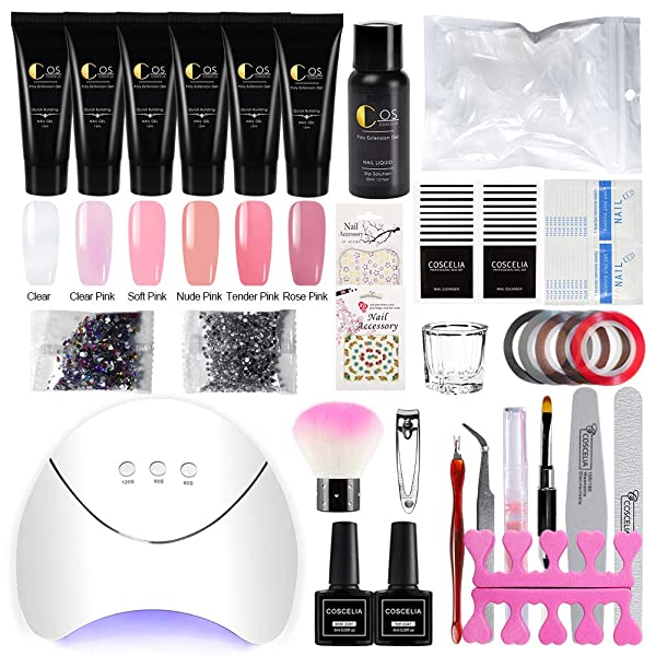 Coscelia Poly Nail Gel Kit with 36W LED Nail Lamp 6 Colors Nail Extension Gel Professional Nail Technician All-in-One Kit