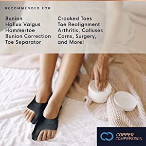 Copper Compression Bunion Corrector with Strap. 1 Pair of Bunion Cushions with Corrector Strap for Bunion Relief. for Women and Men. Guaranteed Highest Copper. Over & Under Sock Big Toe Sleeves, Pads (Tamaño: Large/XLarge)