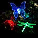 GIGALUMI Solar Garden Lights Outdoor - 3 Pack Solar Stake Lights Multi-Color Changing LED Garden Lights, Premium Butterfly Decorative Lights for Path, Yard, Lawn, Patio. (Color: red, green, blue, yellow, purple)