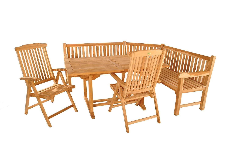 sam teak holz gartenm bel gartengruppe 4tlg madera bestehend aus 1 x ausziehtisch madera. Black Bedroom Furniture Sets. Home Design Ideas