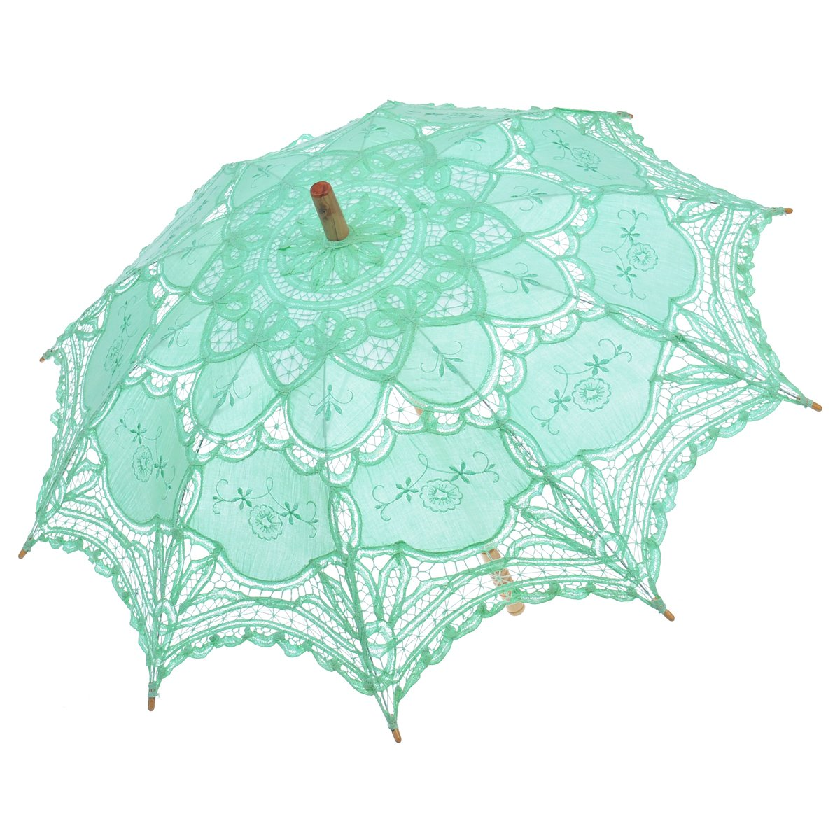 Remedios Ivory Bridal Wedding Cotton Lace Parasol Umbrella for Party Decoration 0