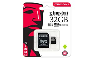 Kingston Canvas Select 32GB microSDHC Class 10 microSD Memory Card UHS-I 80MB/s R Flash Memory Card with Adapter (SDCS/32GB) (Color: Multicolor, Tamaño: 32GB)