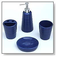 Blue Bathroom Accessory Set