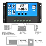 10A Solar Charge Controller, Solar Panel Controller 10amp 12V/24V Auto Paremeter Adjustable LCD Display Solar Panel Regulator with Dual USB Load Timer Setting ON/Off Hours