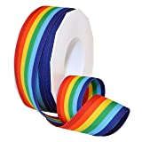 Morex Ribbon Polyester Grosgrain Striped Decorative Ribbon, Rainbow, 1-1/2 in (Color: Rainbow, Tamaño: 1-1/2 in by 20-Yard)
