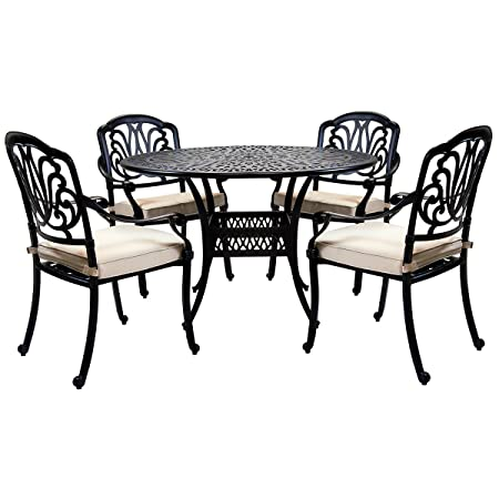 Bentley Garden - Sitzgruppe mit 4 Stuhlen - Aluminiumguss - Fur Garten & Terrasse - Schwarz