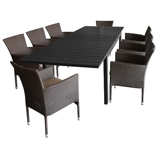 9tlg. Gartengarnitur Gartenmöbel Set Sitzgruppe - Aluminium Ausziehtisch, 160/210/260x95cm, Polywood-Tischplatte + 8x Gartensessel, Bespannung Polyrattan braun-meliert, stapelbar, inkl. Kissen