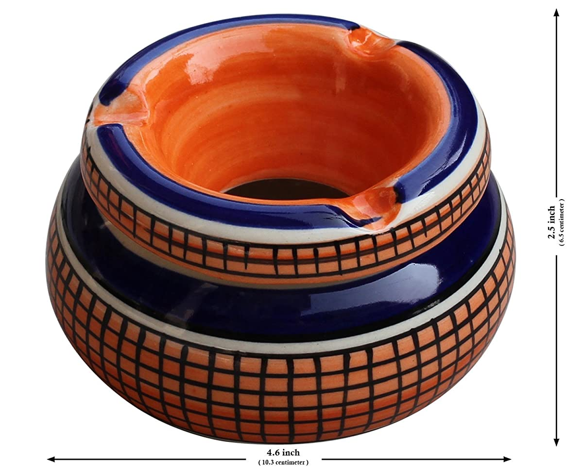 "Todays sale - AB Handicrafts - Moroccan Round Ashtray 4"" Hand-Painted Ceramic Ash Tray with 3 Cigarette Holder SlotsPrime 