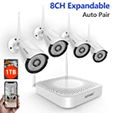 [1080P NVR]Security Camera System Wireless,Safevant 8CH Wireless Security Camera System, 4pcs 960P(1.3 Megapixel) Indoor&Outdoor Wireless Security Cameras,65ft Night Vision,1TB Hard Drive,P2P,Free App (Color: 8CH NVR with 4PCS 960P Cameras 1TB HDD White, Tamaño: 960P Wireless Security Camera System)