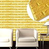 Hatop PE Foam 3D Wallpaper DIY Wall Stickers Wall Decor Embossed Brick Stone (Gold)