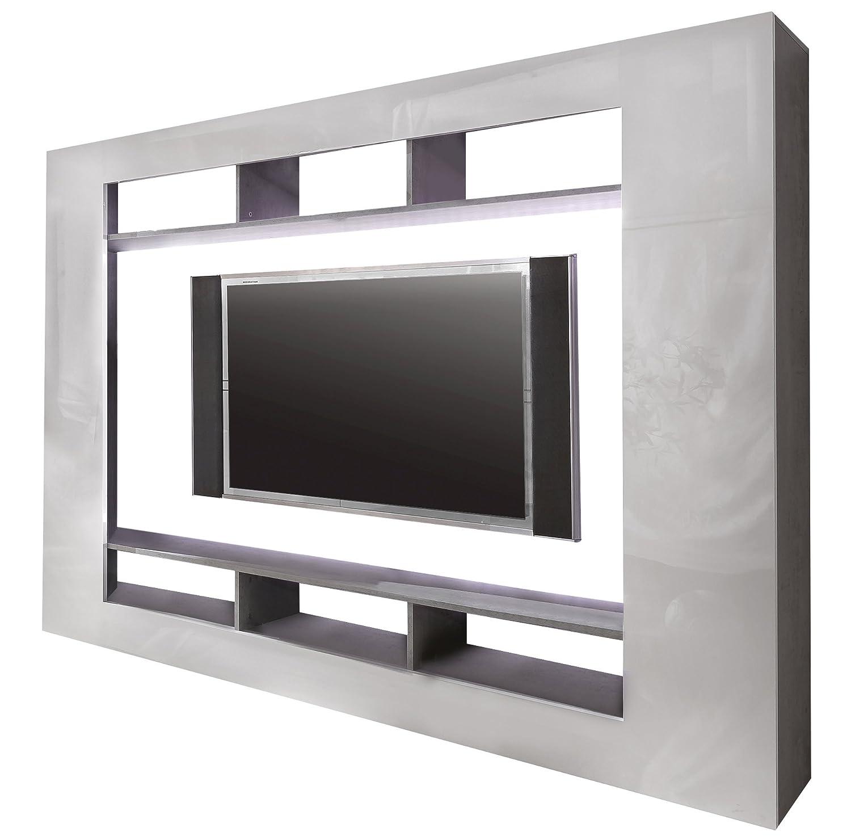 trendteam SD89535 Wohnwand TV Möbel weiss Hochglanz, Beton Industry Nachbildung, BxHxT 216x160x30 cm kaufen