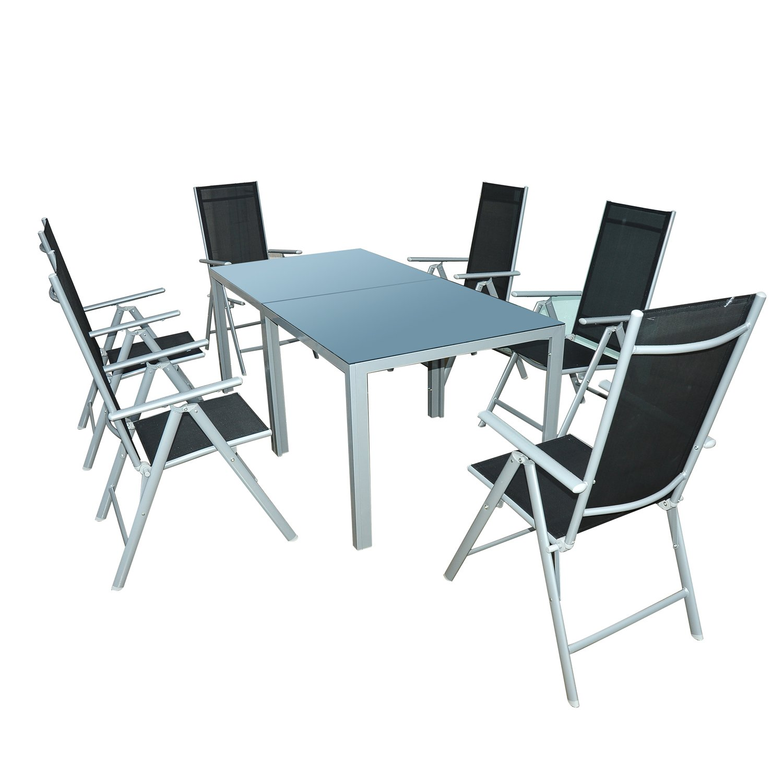 Outsunny Gartenmöbel-Sets Gartengarnitur Sitzgruppe Alu klappbar, 8-er teilig, schwarz