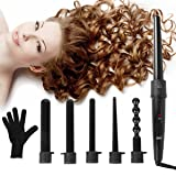 6 in 1 Hair Curling Wand and Curling Iron Set with 6 Interchangeable Ceramic Barrels and Heat Resistant Glove(Black),0.35-1 1/4 Inch Hair Curler By Duomishu