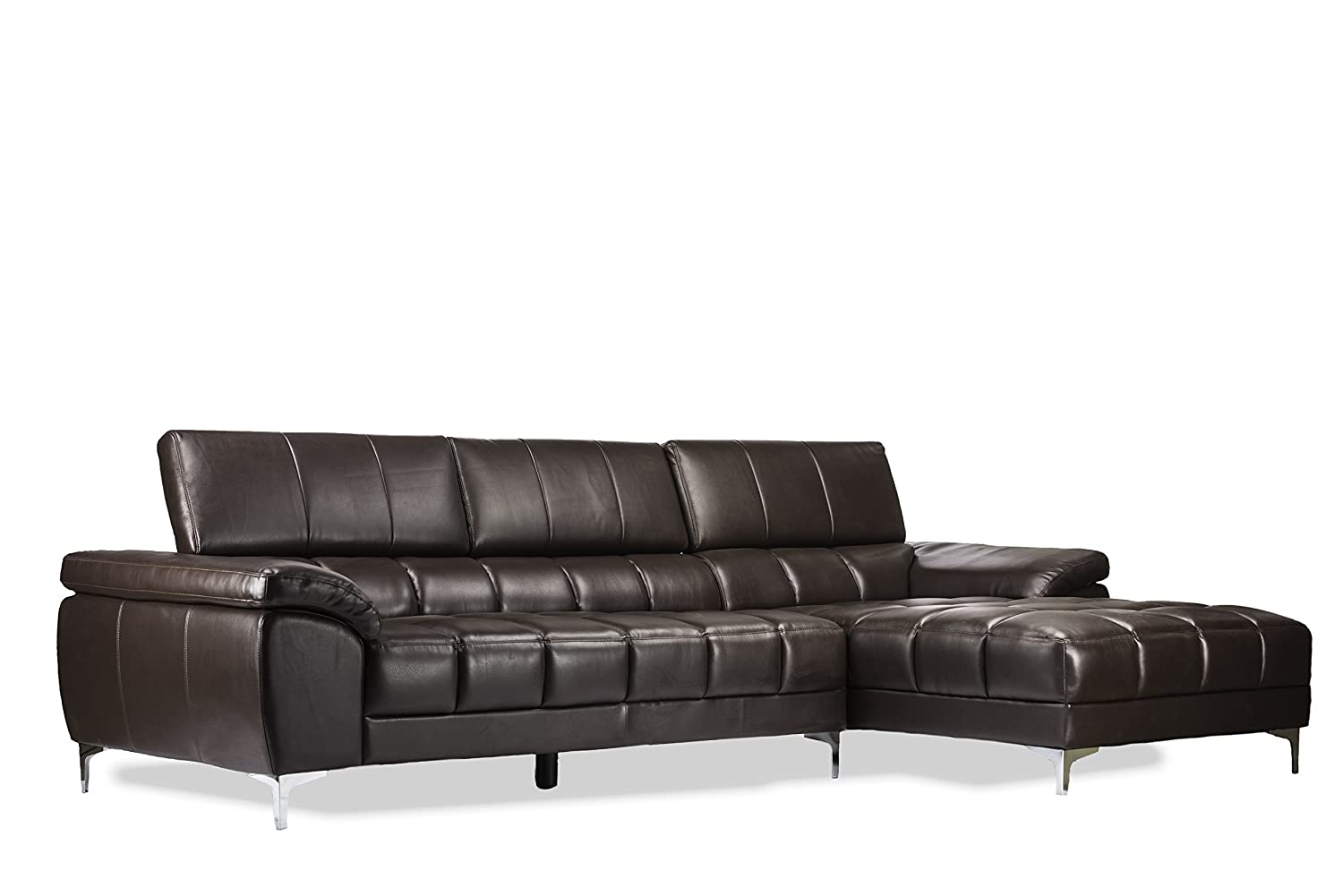 Baxton Studio Sosegado Leather Sectional Sofa with Right Facing Chaise - Brown