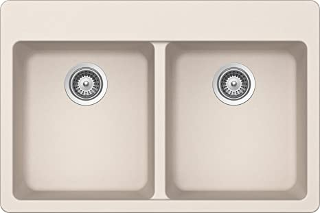 SCHOCK ALIN200T026 ALIVE Series CRISTALITE 50/50 Topmount Double Bowl Kitchen Sink, Everest
