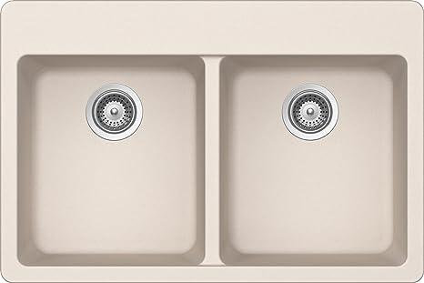 SCHOCK ALIN200T026 ALIVE Series CRISTALITE 50/50 Topmount Double Bowl Kitchen Sink, Everest