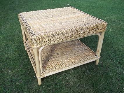 Tavolino da salotto, in legno e rattan, 72cm x 72cm x 52cm