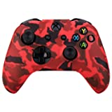 MXRC Silicone rubber cover skin case anti-slip Water Transfer Customize Camouflage for Xbox One/S/X controller x 1(red)