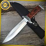 SURVIVOR 10'' Stainless Skinning Hunting Knife Wood Handle Bowie HK-783 for Hunting Camping Cosplay