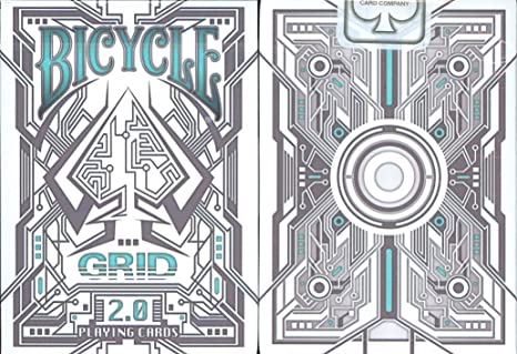 top deck cards:  Bicycle Grid 2.0 Playing Cards Glows Under Ultraviolet Light Features and price