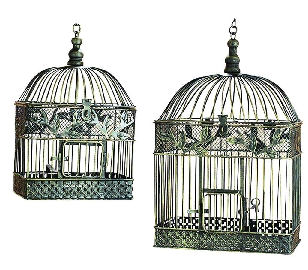Deco 79 88016 2-Piece Metal Square Bird Cage Set 0