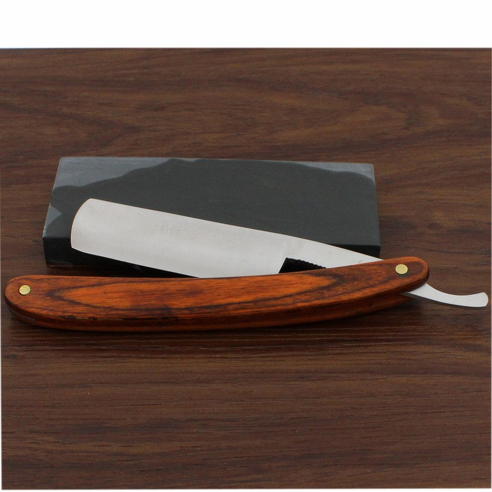 Vintage Design Cut Throat Brown Wooden Handle Straight Razor Folding Knife Widen Stainless Steel Blade Natural Whetstone Sharpener Manual Wet Shaving Kit Gift Set for Men 1