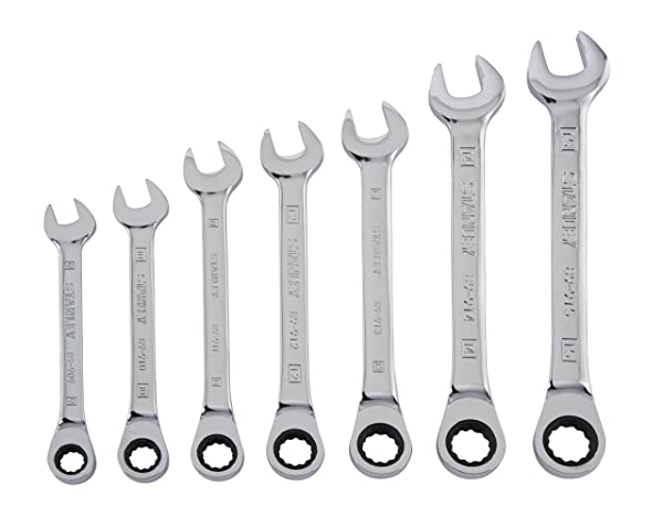 Stanley 94-543W 7-Piece Ratcheting Wrench Set, Metric (Color: Fully Polished Chrome)