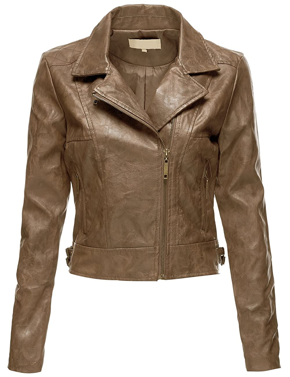 Luna Flower Women's Faux Leather Bomber Jean Moto Rider Jackets 0
