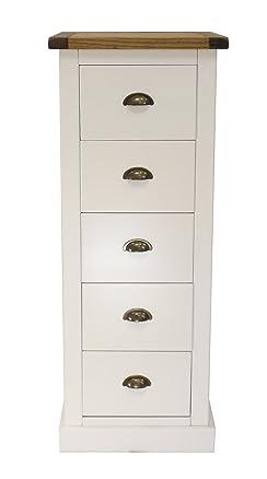 """Armadio punte """"floreale cassettiera con cassetti con maniglia in ottone/quadrato gonna, legno, bianco"""