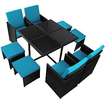 17-teilige Luxus Rattan Sitzgruppe BELLINI mit 4 Stuhlen, 4 Hockern und 1 Tisch Lounge Set Poly-Rattan inkl. Auflagen und Bezuge Gartenmöbel Gartenset Sitzgarnitur Rattanmöbel große Farbauswahl, Farbe:Titan-Schwarz / Meeresblau