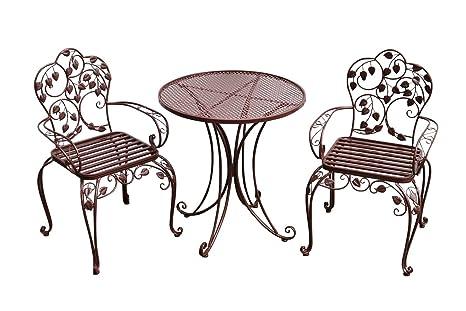 Gartenset Bistroset Metall Antik-Stil Gartenmöbel Garnitur Garten Cafe braun