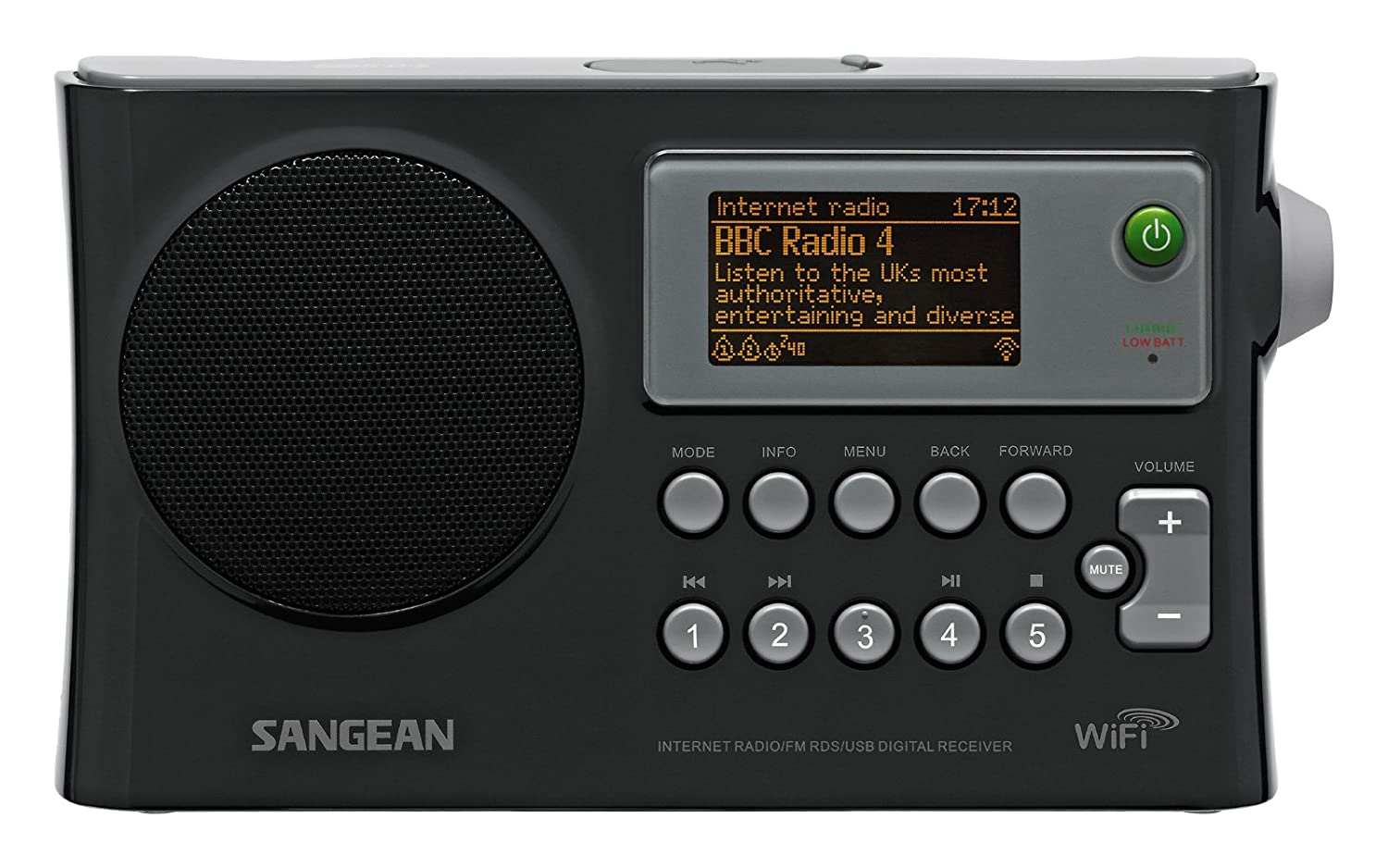 Sangean WFR-28 Rechargeable Portable WiFi Internet Radio with Color Display and Spotify